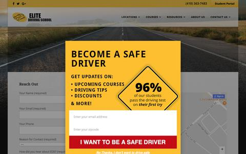 Screenshot of Contact Page drivingschool.net - Contact Elite Driving School - captured July 29, 2017