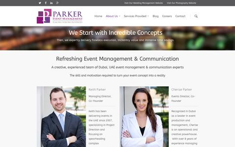 Screenshot of About Page parker.events - UAE Event Management & Communication Experts | PE - captured Jan. 25, 2016