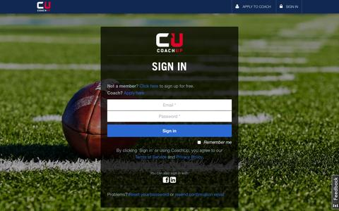 Screenshot of Login Page coachup.com - Sign In to Your Account | CoachUp - captured Sept. 13, 2014