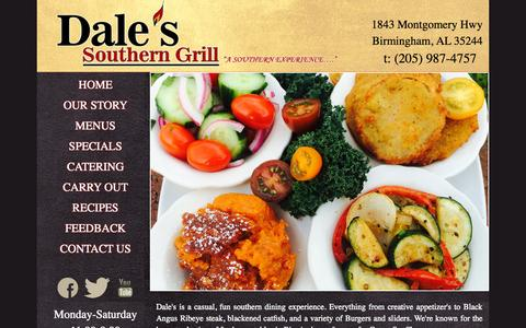 Screenshot of Menu Page dalesgrill.com - Dale's Southern Grill, Southern Style Restaurants in Birmingham, Family Restaurants in Birmingham - captured Oct. 4, 2015