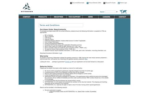 Screenshot of Terms Page wittenstein-us.com - Terms & Conditions    -  Wittenstein Mechatronic Components and Systems for Motion Control - Formerly Alpha Gear Drives - captured Oct. 1, 2014