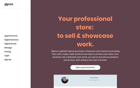 Screenshot of Home Page gigrove.com - Gigrove – Your Professional Store: To Sell & Showcase Work. - captured March 15, 2019