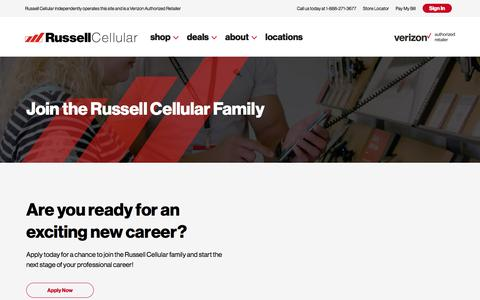 Screenshot of Jobs Page russellcellular.com - Careers – Russell Cellular - captured Jan. 14, 2020