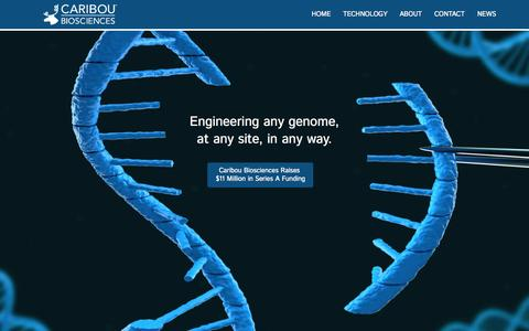 Screenshot of Home Page cariboubio.com - Caribou Biosciences, Inc. - captured July 19, 2015