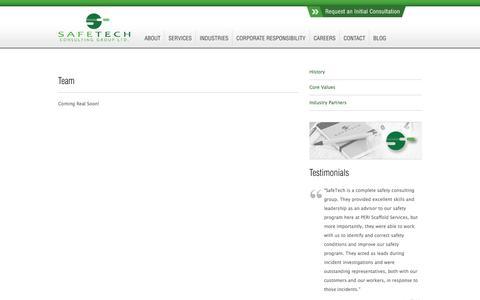 Screenshot of Team Page safetech.ca - Field Safety Staff Edmonton, Alberta | SafeTech Team - captured Oct. 3, 2014