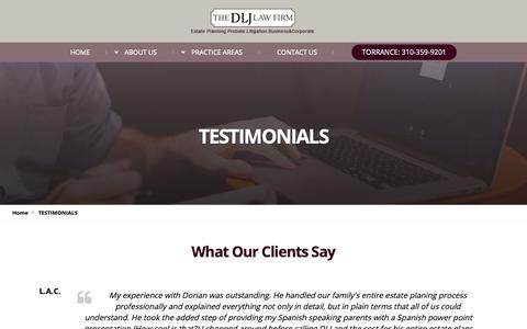 Screenshot of Testimonials Page dljlawfirm.com - TESTIMONIALS - Probate, Estate Planning & Probate Litigation Attorneys | The DLJ Law Firm - captured Oct. 18, 2018