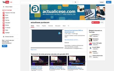 Screenshot of YouTube Page youtube.com - actualicese puntocom  - YouTube - captured Nov. 2, 2014