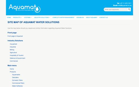 Screenshot of Site Map Page aquamat.co.za - Site map of Aquamat Water Solutions   Aquamat - captured Dec. 18, 2018