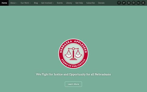 Screenshot of Home Page neappleseed.org - Nebraska Appleseed | We Fight for Justice and Opportunity for all Nebraskans - captured Sept. 5, 2015