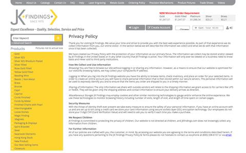 Screenshot of Privacy Page jkfindings.com - JK Findings - Privacy Policy - captured July 22, 2016
