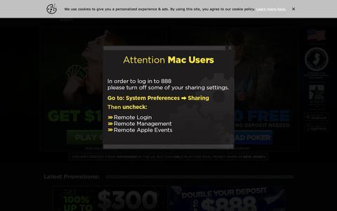 Screenshot of Home Page 888.com - Online Casino & Online Poker Room - 888.com - captured Nov. 23, 2018