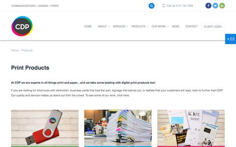 Screenshot of Products Page cdp.co.uk - Print Products from CDP Print Management - Expert Print Procurement : CDP Print Management - captured Sept. 25, 2018