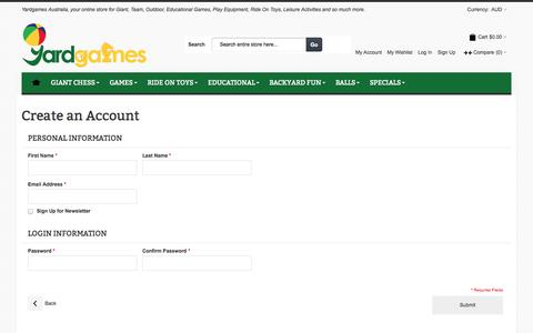 Screenshot of Signup Page yardgames.com.au - Create New Customer Account - captured Oct. 29, 2014