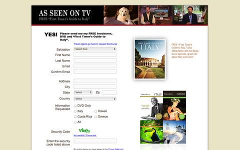 Screenshot of Landing Page perillotours.com - Perillo Tours - Free DVD and Brochures - captured Oct. 27, 2014