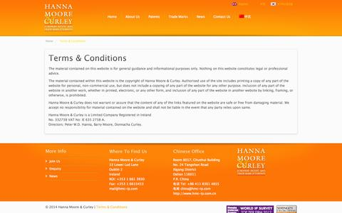 Screenshot of Terms Page hmc-ip.com - Terms & Conditions | Hanna Moore & Curley - captured Oct. 1, 2014