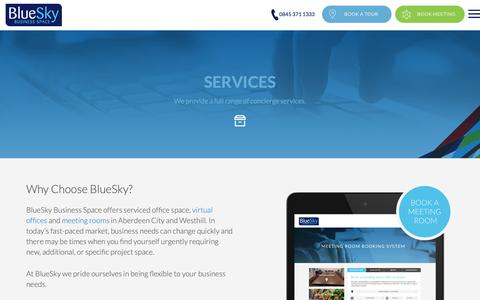 Screenshot of Services Page blueskybs.com - Office Space Aberdeen city centre and Westhill - BlueSky Business Space - captured Oct. 6, 2018