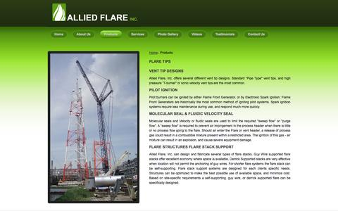 Screenshot of Products Page alliedflare.com - Products, Flare And Vent Tip Design, Pilot Ignition  - Allied Flare inc. - captured Sept. 30, 2014