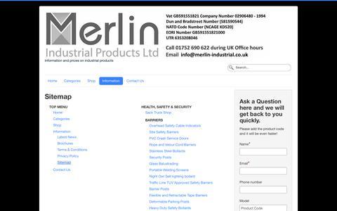 Screenshot of Site Map Page merlin-industrial.co.uk - Sitemap - captured Oct. 17, 2018