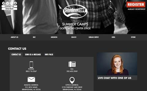 Contact Us | Student Life Christian Summer Camps