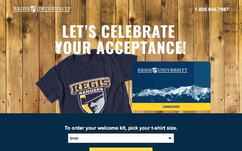 Screenshot of Landing Page regis.edu - Get Your Regis University Welcome Kit - captured May 11, 2017