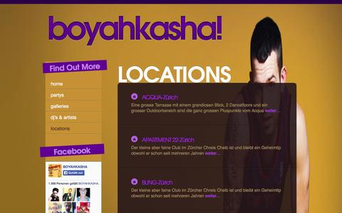 Screenshot of Locations Page boyahkasha.ch - Archiv | boyahkasha!  Alle Locations im Überblick | boyahkasha! - captured Sept. 30, 2014