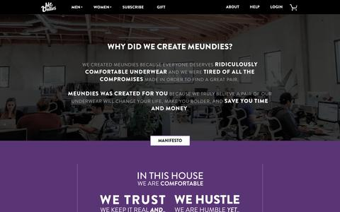Screenshot of About Page meundies.com - MeUndies  - World's Most Comfortable Underwear, Socks, and T-Shirts - MeUndies - captured July 4, 2016