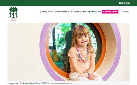 Screenshot of FAQ Page tcgjumeira.ae - Frequently Asked Questions - The Childrens Garden Dubai | Multilingual | Early Years Programme | Kindergarten | Nursery | Internatinonal School Dubai | The Childrens Garden Dubai - captured Jan. 10, 2017