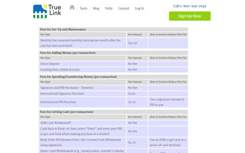 Screenshot of Pricing Page truelinkcard.com - Schedule Of Fees And Charges | True Link - captured Sept. 12, 2014