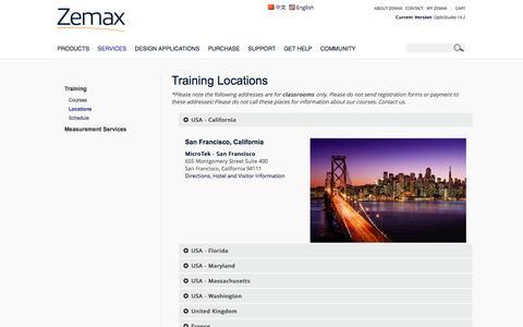 Screenshot of Locations Page zemax.com - Zemax - Training Locations | Zemax - captured Oct. 9, 2014