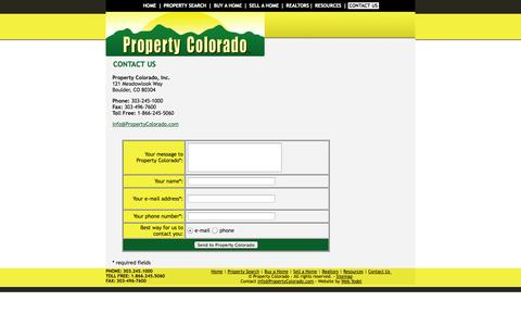 Screenshot of Contact Page propertycolorado.com - Property Colorado Contact Information: Real Estate Company: Residential Real Estate, Rentals, Investment Properties, Retirement Properties - captured Oct. 3, 2014