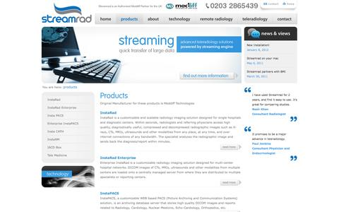 Screenshot of Products Page streamrad.com - Products | StreamRad - captured Oct. 7, 2014