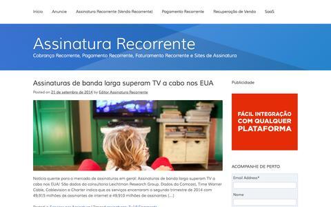 Screenshot of Home Page assinaturarecorrente.com - Assinatura Recorrente | Cobrança Recorrente, Pagamento Recorrente, Faturamento Recorrente e Sites de Assinatura - captured Sept. 19, 2014