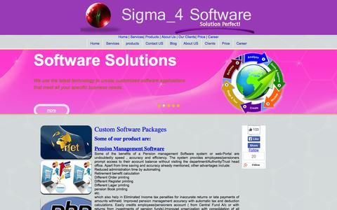 Screenshot of Products Page sigma4sw.com - We develop Custom Software and Web Apps and data driven App - captured Oct. 31, 2014