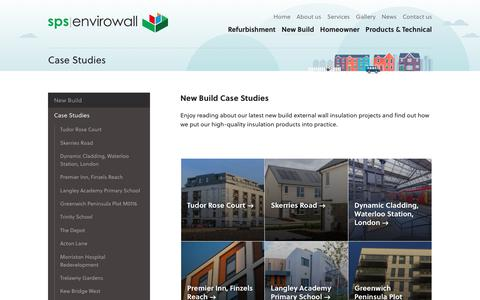 Screenshot of Case Studies Page spsenvirowall.co.uk - EWI Commercial & New Build Case Studies	| SPS Envirowall - captured Oct. 1, 2018