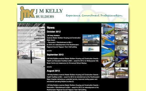 Screenshot of Press Page jmk.com.au - News | JM Kelly Builders - captured Oct. 3, 2014