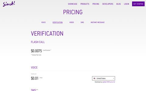 Screenshot of sinch.com - Verification Pricing | Sinch - captured March 19, 2016