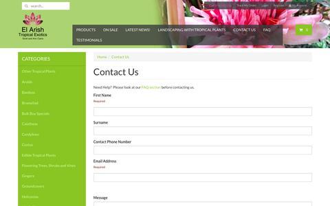 Screenshot of Contact Page elarishtropicalexotics.com - Contact Us - captured Jan. 17, 2016