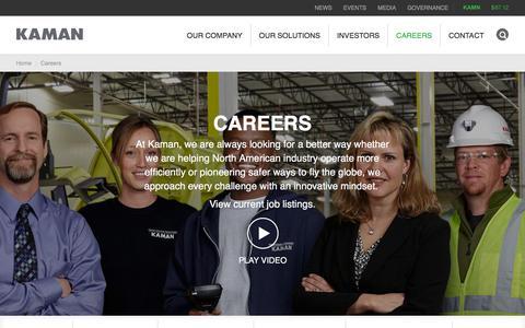 Screenshot of Jobs Page kaman.com - Careers | Kaman - captured Sept. 22, 2018