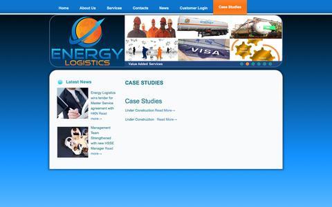 Screenshot of Case Studies Page energylogistics-iq.com - ENERGY LOGISTICS – IRAQ  » Case Studies - captured Oct. 3, 2014