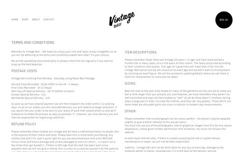Screenshot of Terms Page vintagedeli.co.uk captured Oct. 26, 2014