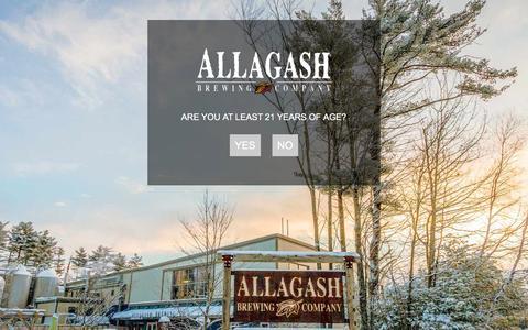 Screenshot of Home Page allagash.com - Allagash Brewing Company - Age verification - captured Feb. 5, 2016