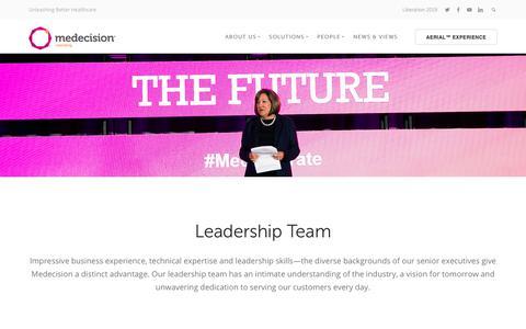 Screenshot of Team Page medecision.com - Leadership - captured March 21, 2019
