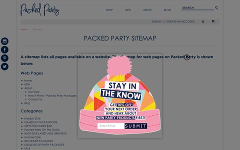 Screenshot of Site Map Page packedparty.com - Sitemap - captured Jan. 12, 2017