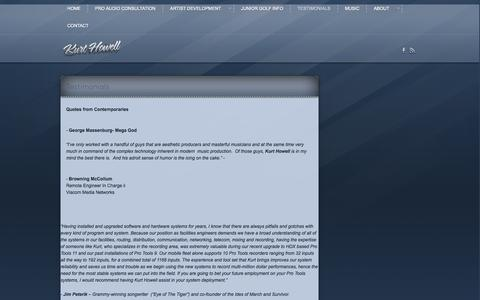 Screenshot of Testimonials Page kurthowell.com - Testimonials | Kurt Howell - captured Oct. 6, 2014