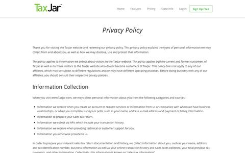 Screenshot of Privacy Page taxjar.com - Privacy Policy - TaxJar - captured Sept. 17, 2014