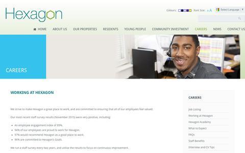Screenshot of Jobs Page hexagon.org.uk - Careers | Hexagon Housing Association - captured April 12, 2016
