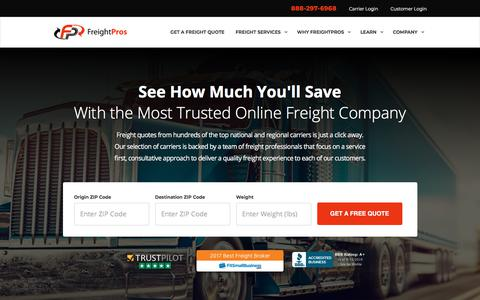 Screenshot of Home Page freightpros.com - Freight Pros: Freight Quotes | LTL Freight Quotes, Truckload Freight Shipping Rates | FreightPros - captured Aug. 12, 2018