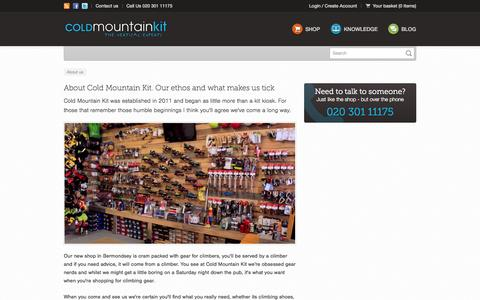 Screenshot of About Page coldmountainkit.com - Cold Mountain Kit - About us - captured Sept. 30, 2014