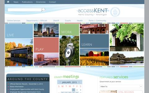 Screenshot of Home Page accesskent.com - accessKent | Kent County, Michigan - captured Jan. 24, 2015