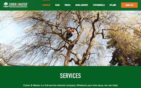 Screenshot of Services Page cmtrees.com - Professional Tree and Shrub Services - Cohen & Master Trees - captured Sept. 28, 2018